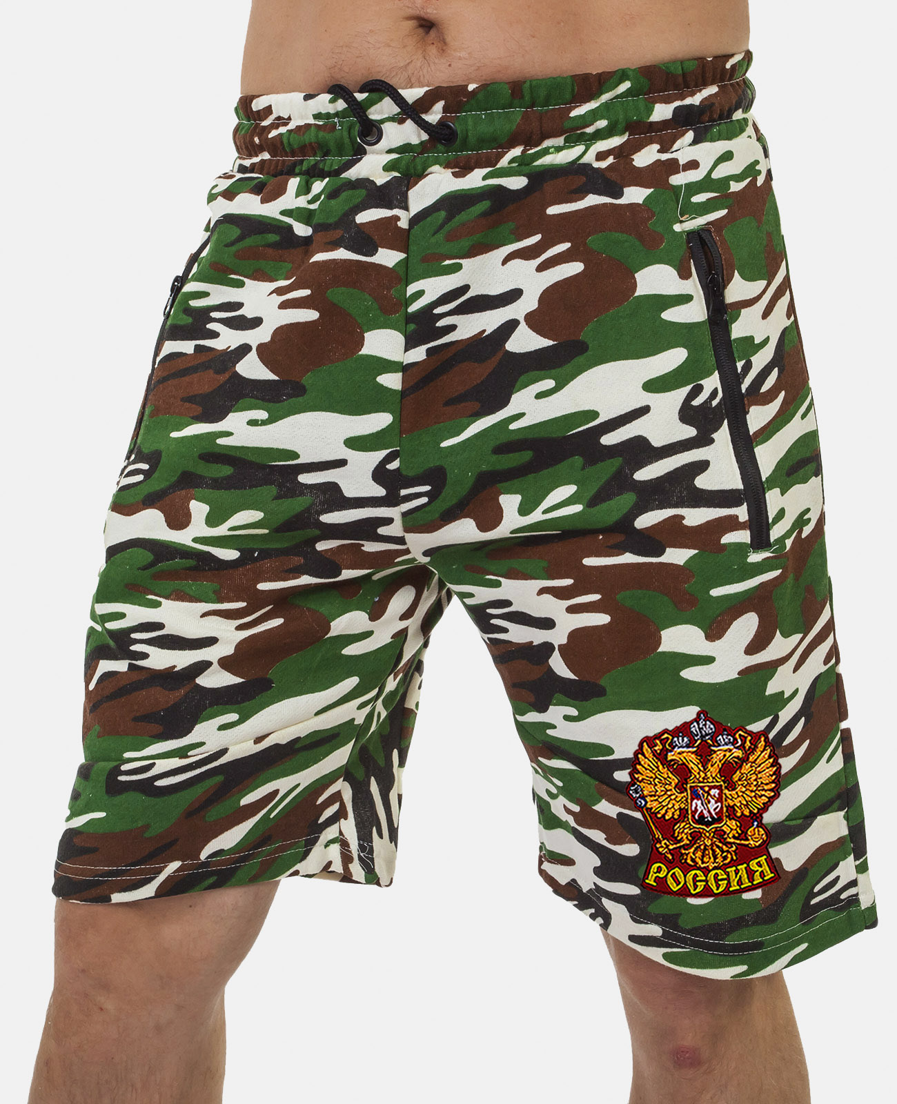 Купить надежные камуфляжные шорты с карманами и нашивкой Россия в подарок с доставкой