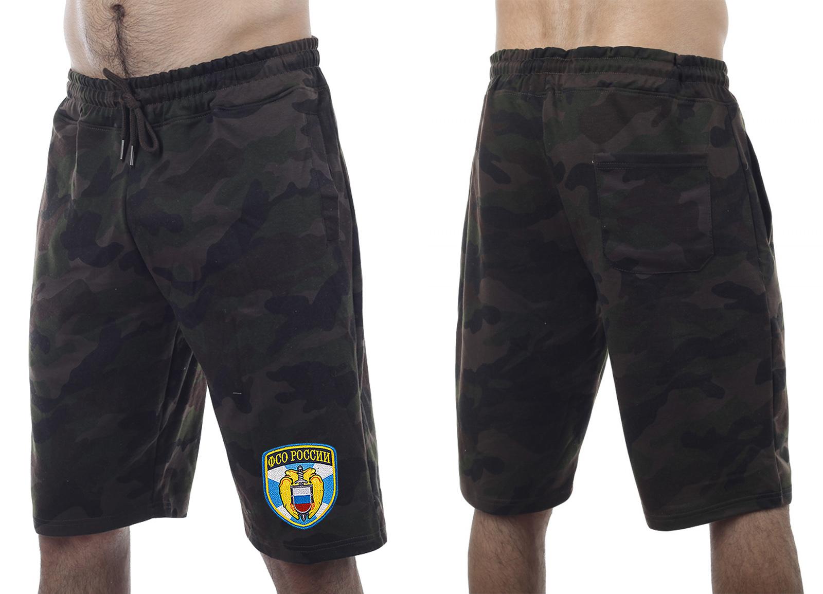 Надежные камуфляжные шорты с нашивкой ФСО - купить онлайн