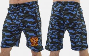 Надежные камуфляжные шорты с нашивкой Россия - купить оптом