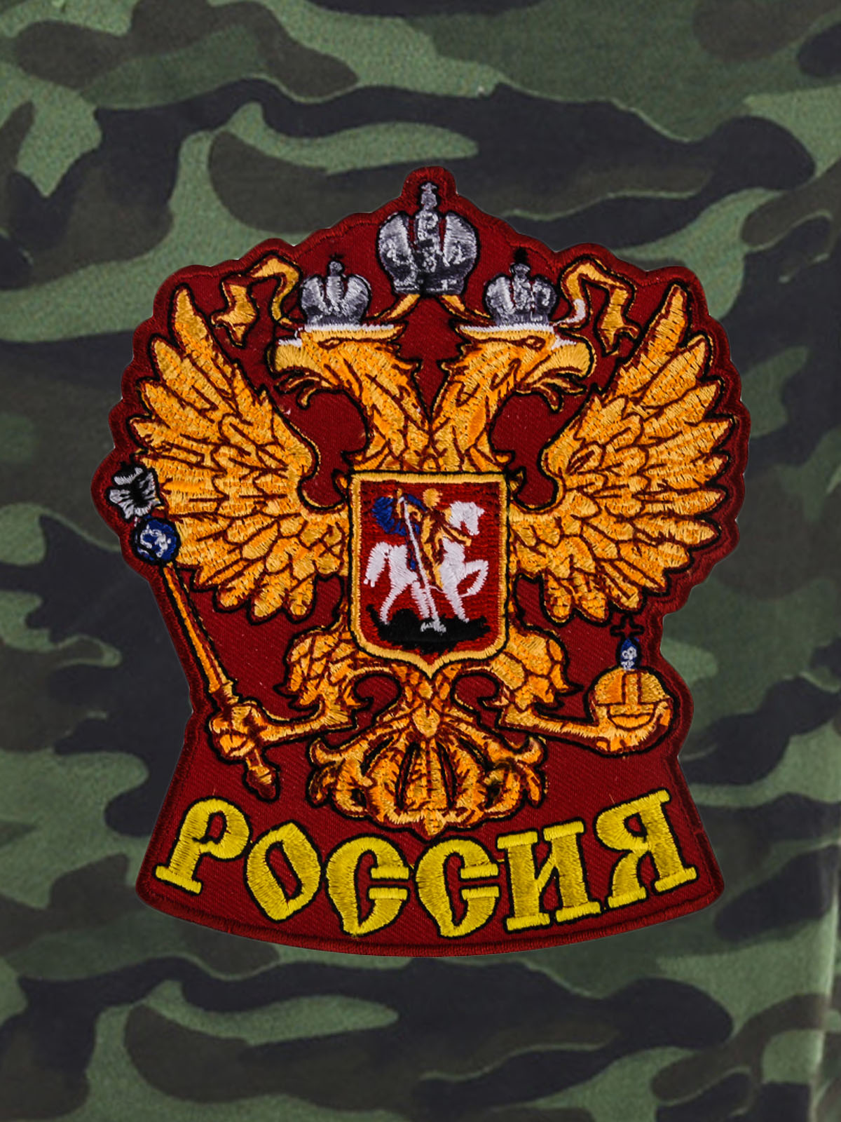 Надежные оливковые шорты с карманами и нашивкой Россия