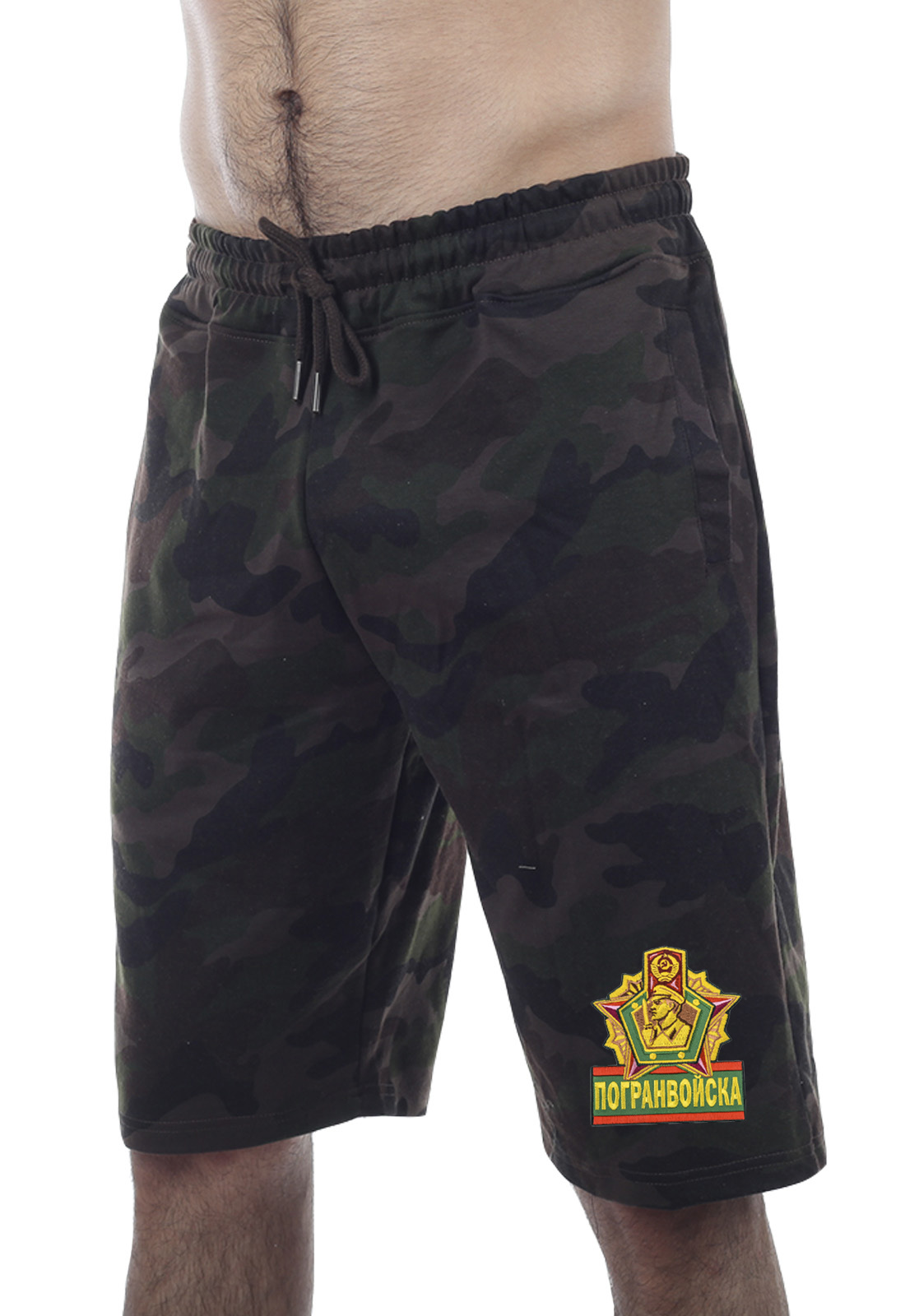 Купить надежные темные милитари-шорты с нашивкой Погранвойска по сниженной цене