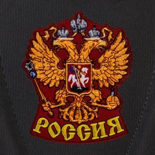 Надежный черный рюкзак с гербом России заказать оптом
