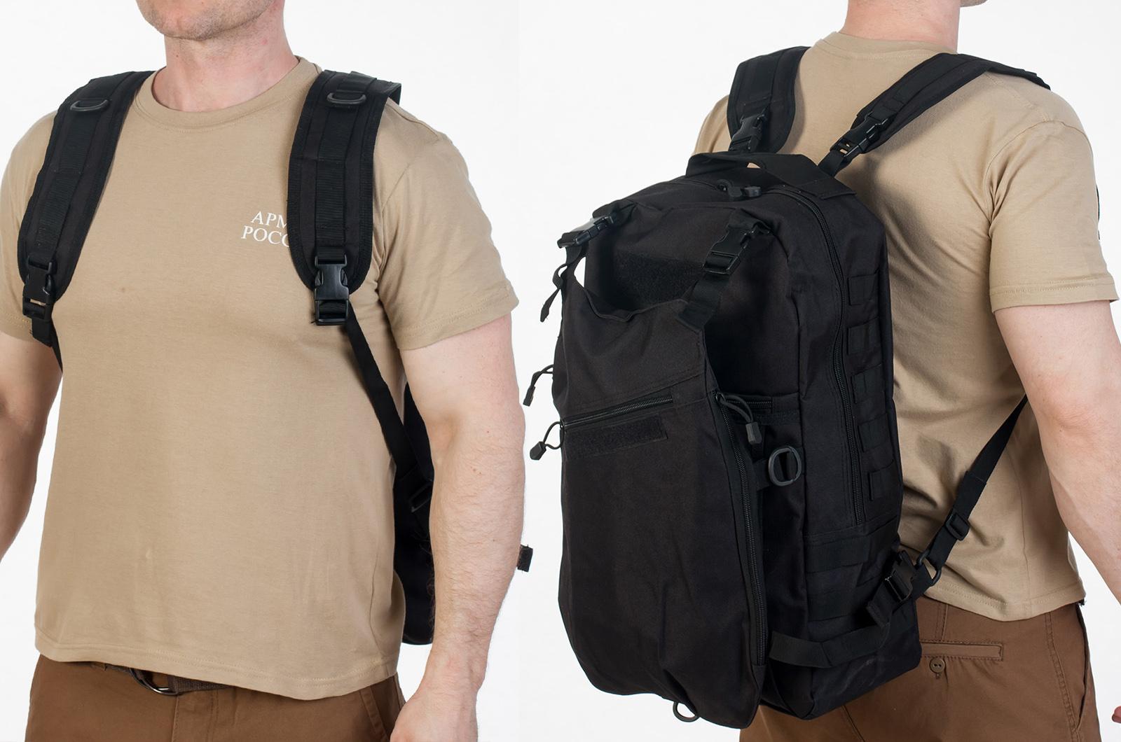 Надежный черный рюкзак с нашивкой РХБЗ - купить с доставкой