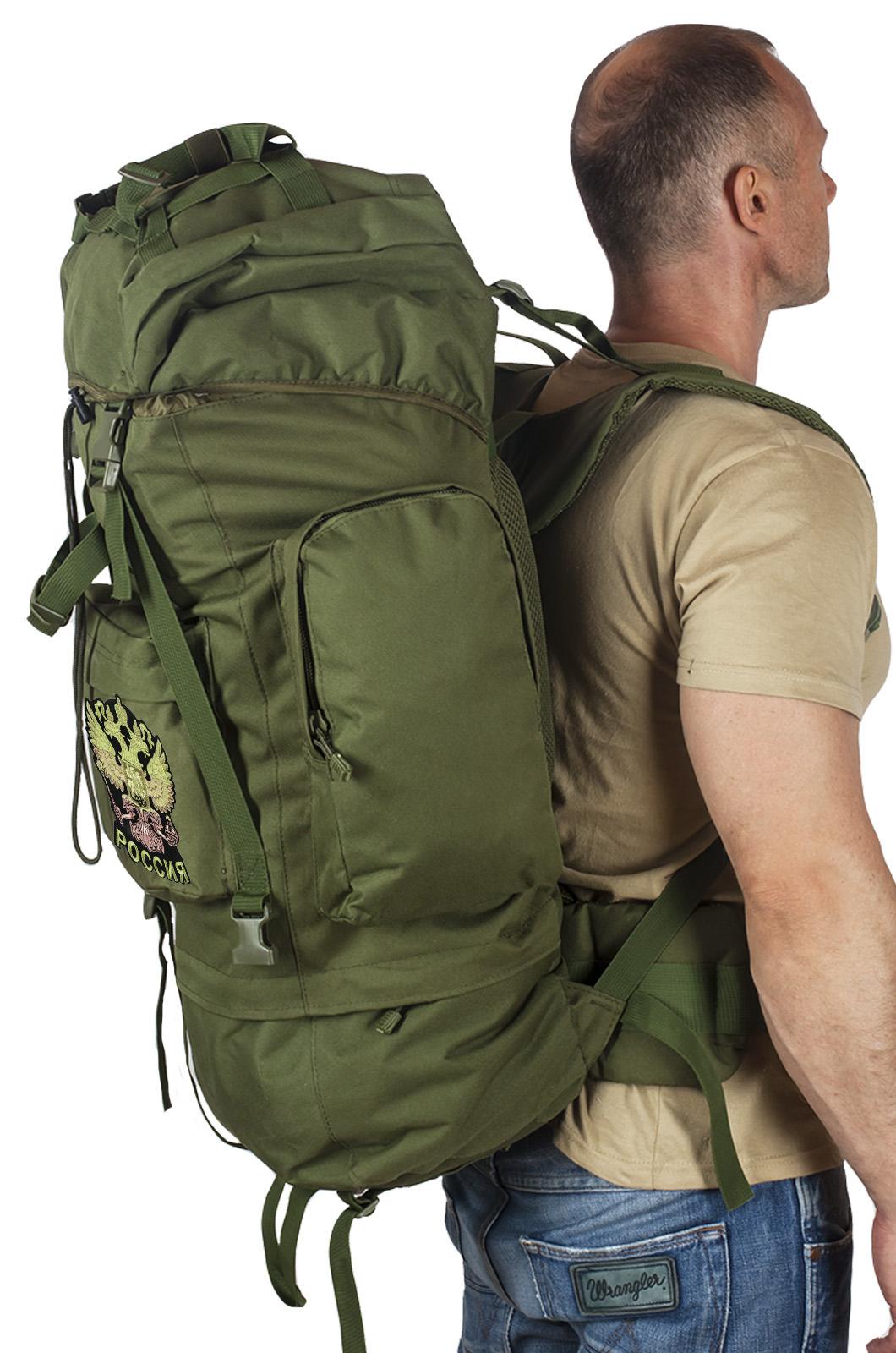 Надежный каркасный рюкзак с нашивкой Герб России - купить в розницу