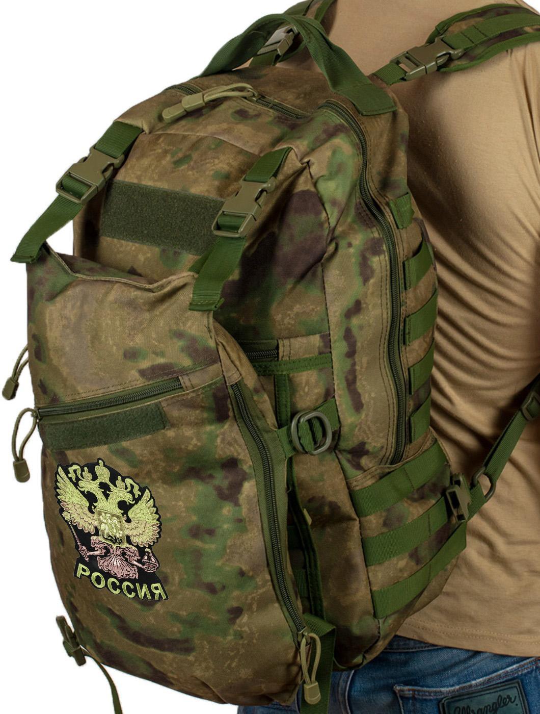 Надежный мужской рюкзак с нашивкой Герб России
