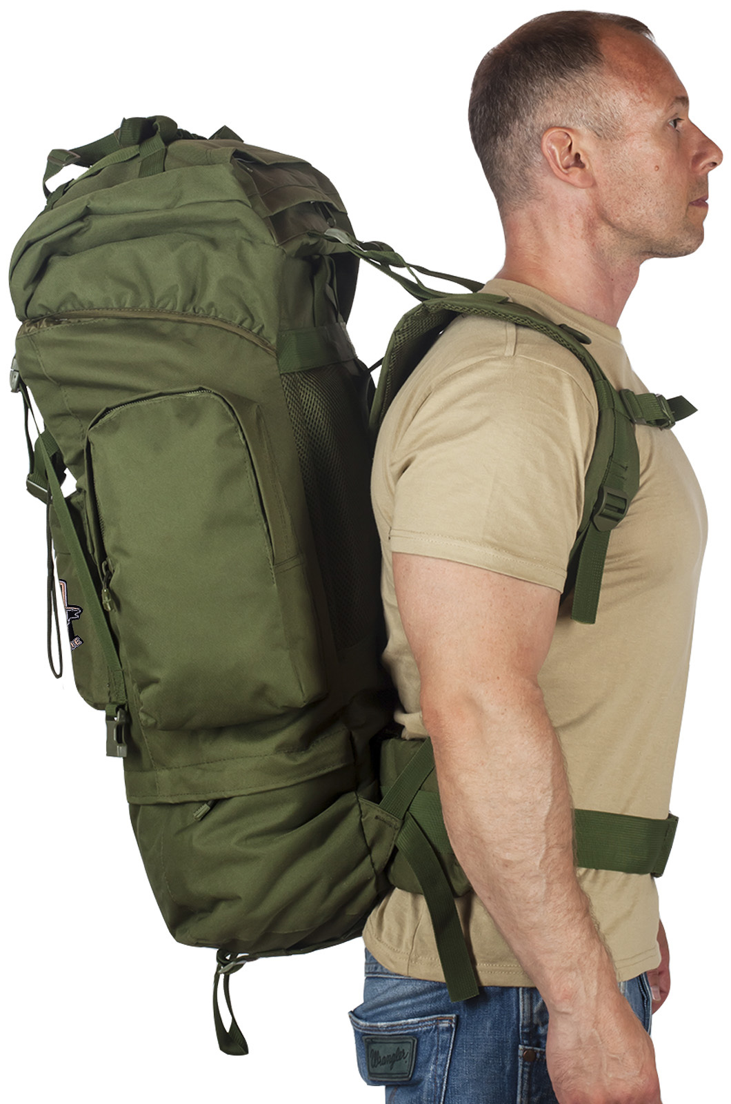 Надежный оливковый рюкзак с нашивкой Рыболовный Спецназ - заказать в розницу