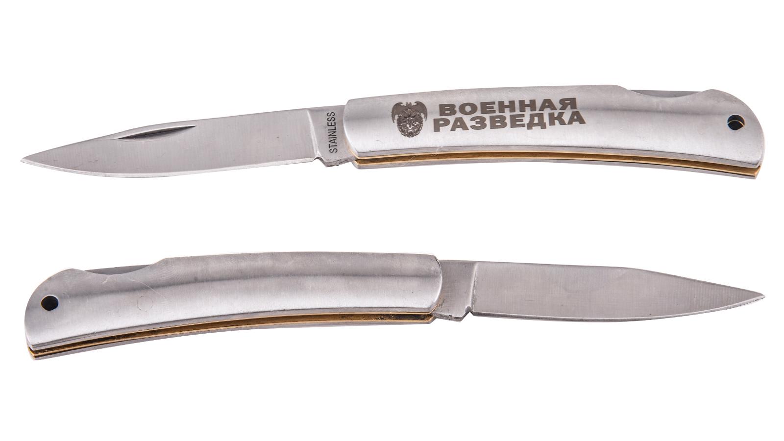 """Заказать надёжный складной нож с гравировкой """"Военная разведка"""""""