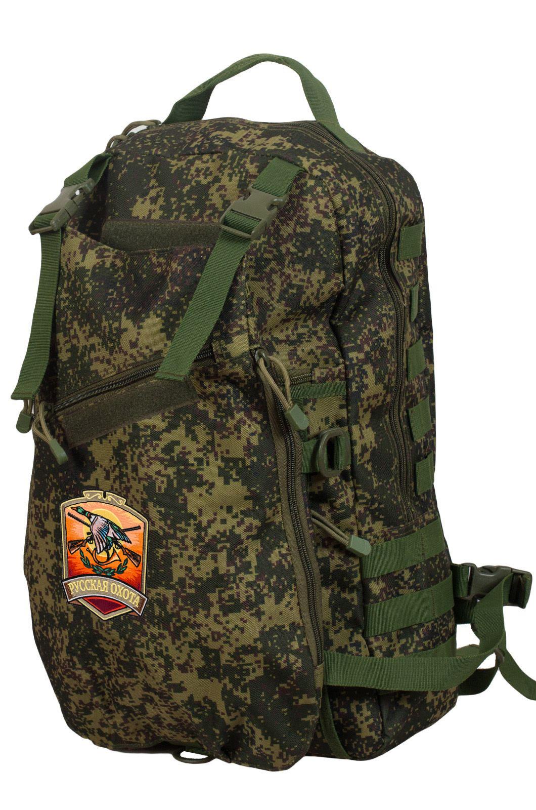 Надежный вместительный рюкзак с нашивкой Русская Охота - купить с доставкой
