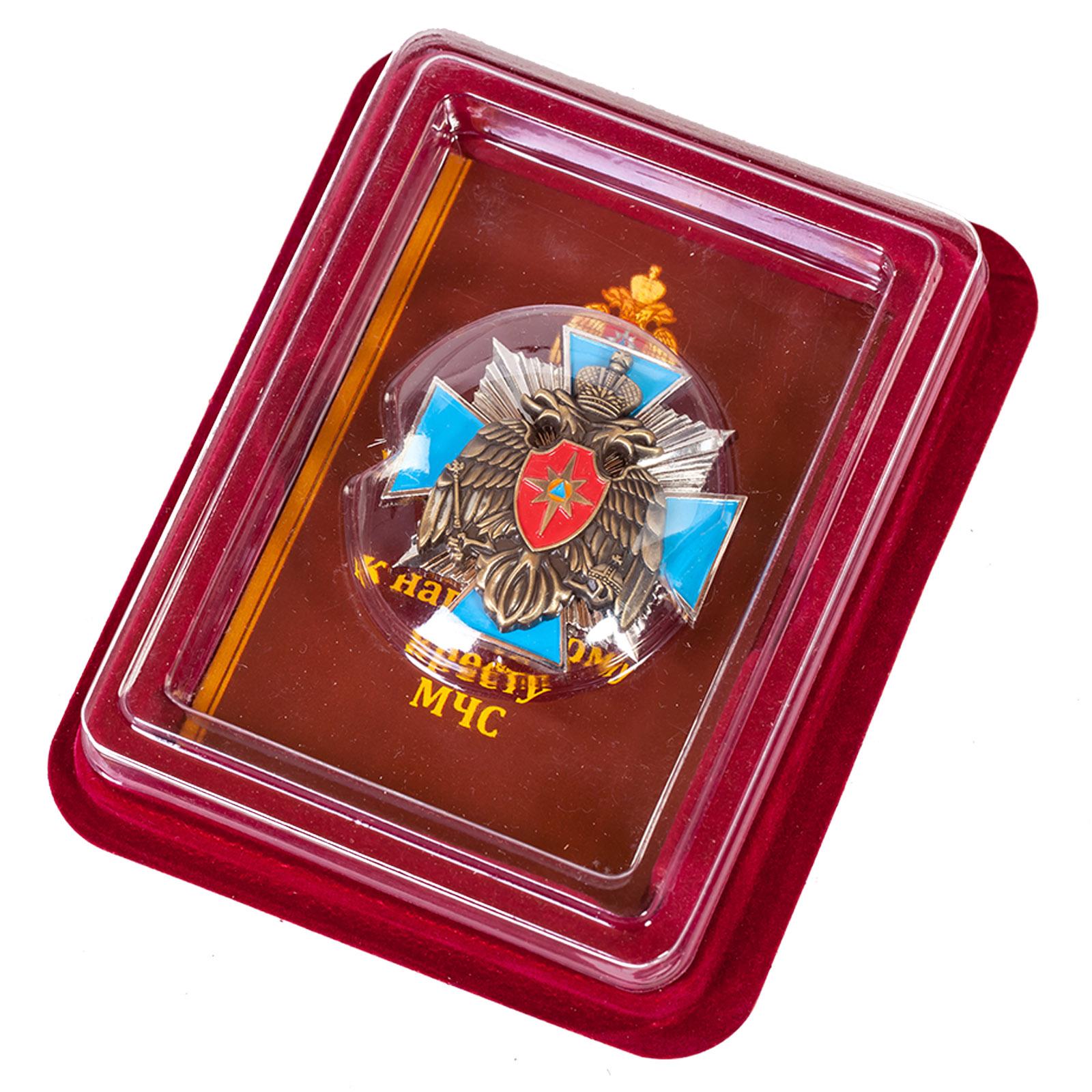 Наградной крест МЧС России в оригинальном футляре из флока
