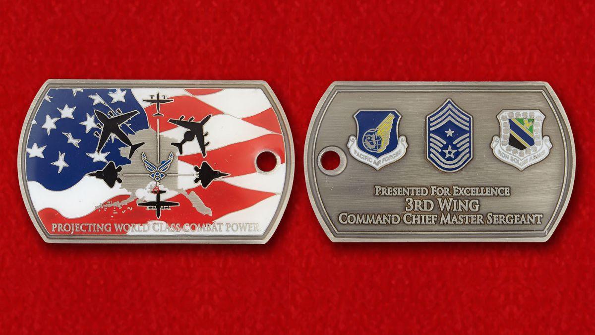 """Челлендж коин """"3-му авиакрылу от главного сержанта"""" - аверс и реверс"""