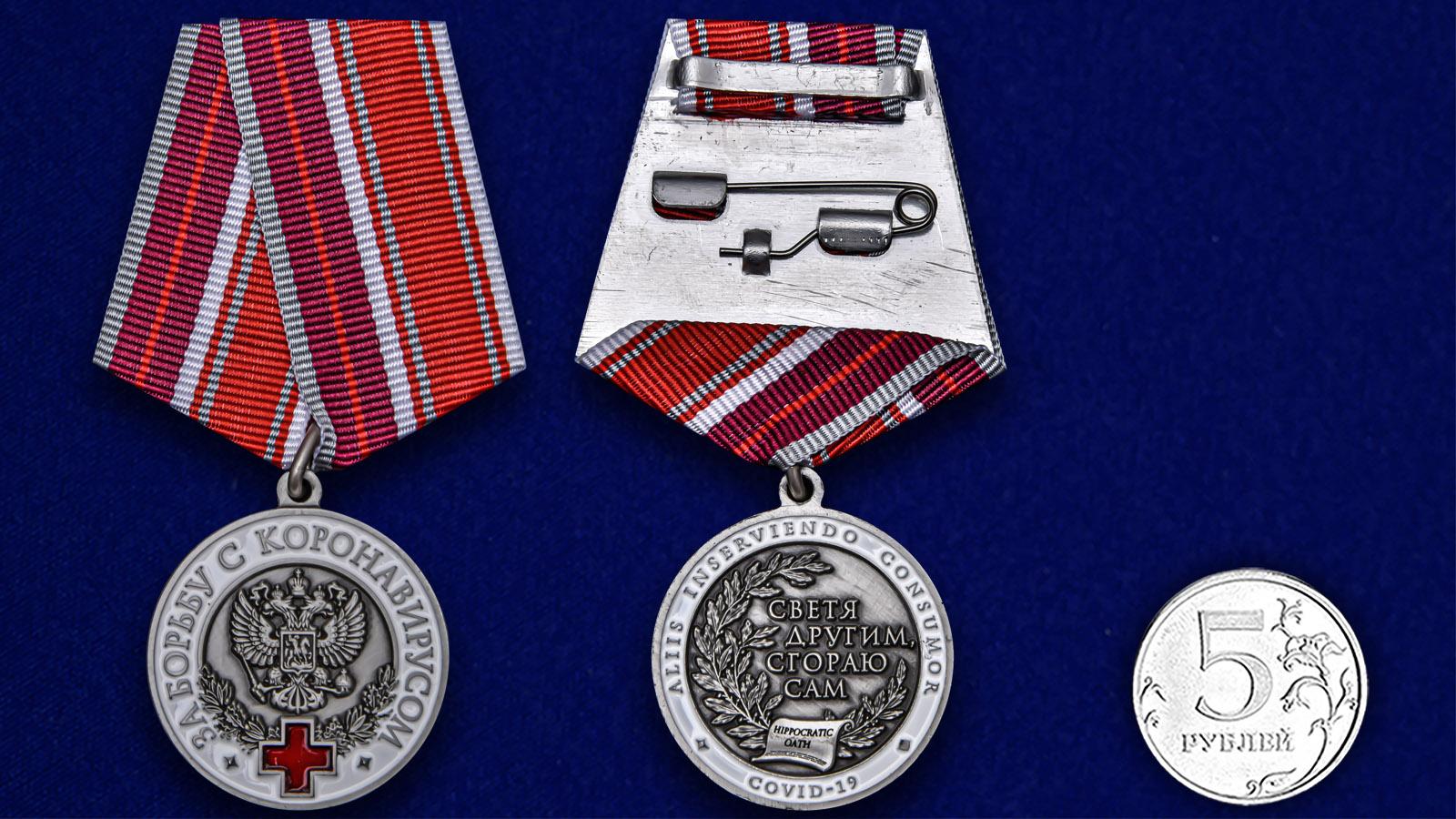 Нагрудная медаль За борьбу с коронавирусом - сравнительный вид