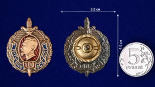 """Нагрудный знак """"100 лет ВЧК-ФСБ"""" 1917-2017 - сравнительный размер"""
