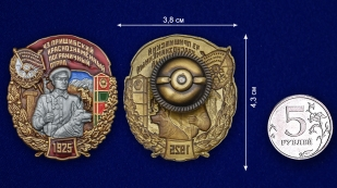 Нагрудный знак 43 Пришибский Краснознамённый Пограничный отряд - сравнительный вид