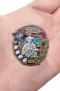 Нагрудный знак 81 Термезский ордена Красной Звезды пограничный отряд - вид на ладони
