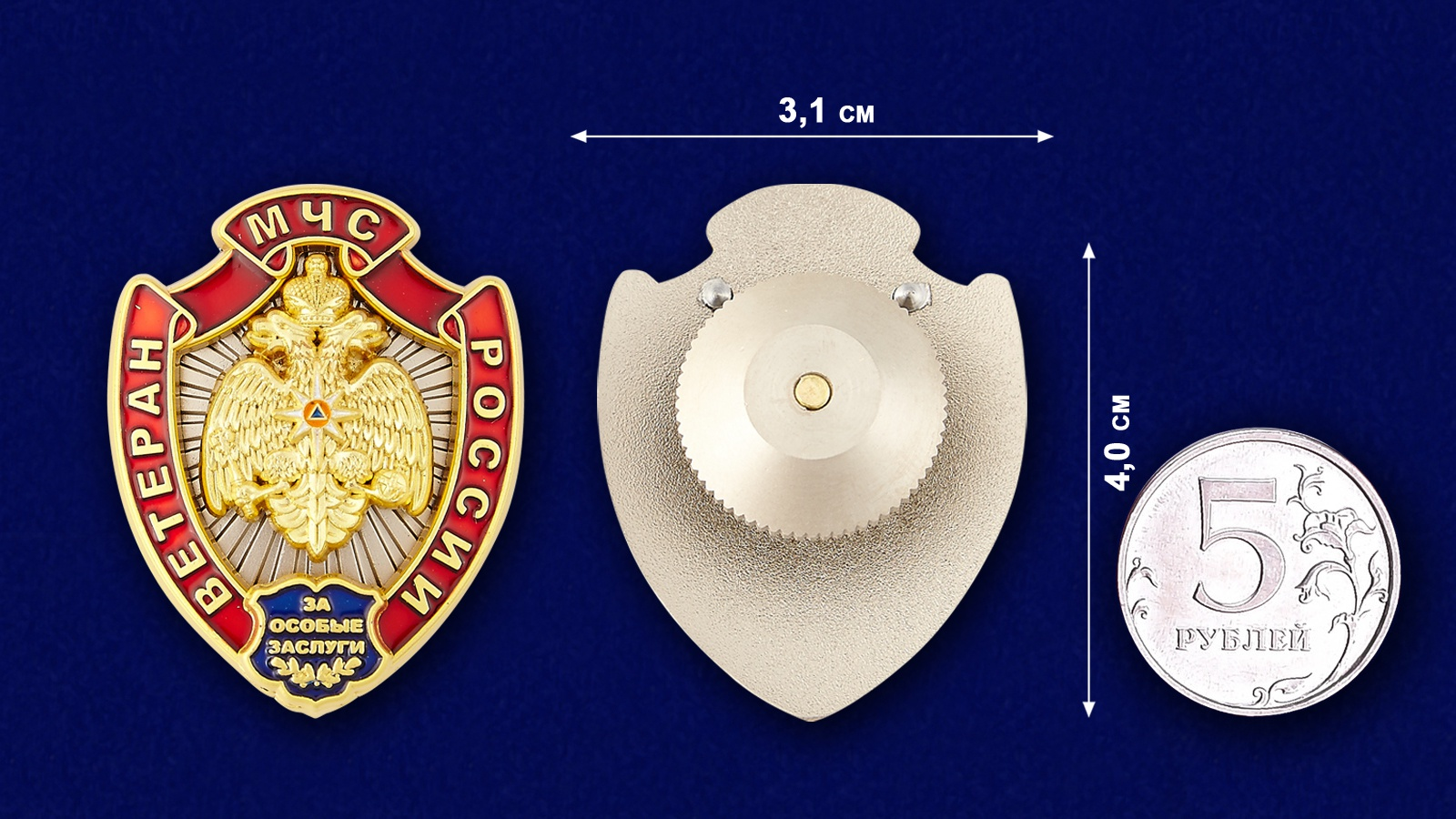 Нагрудный знак Ветеран МЧС России - сравнительный размер