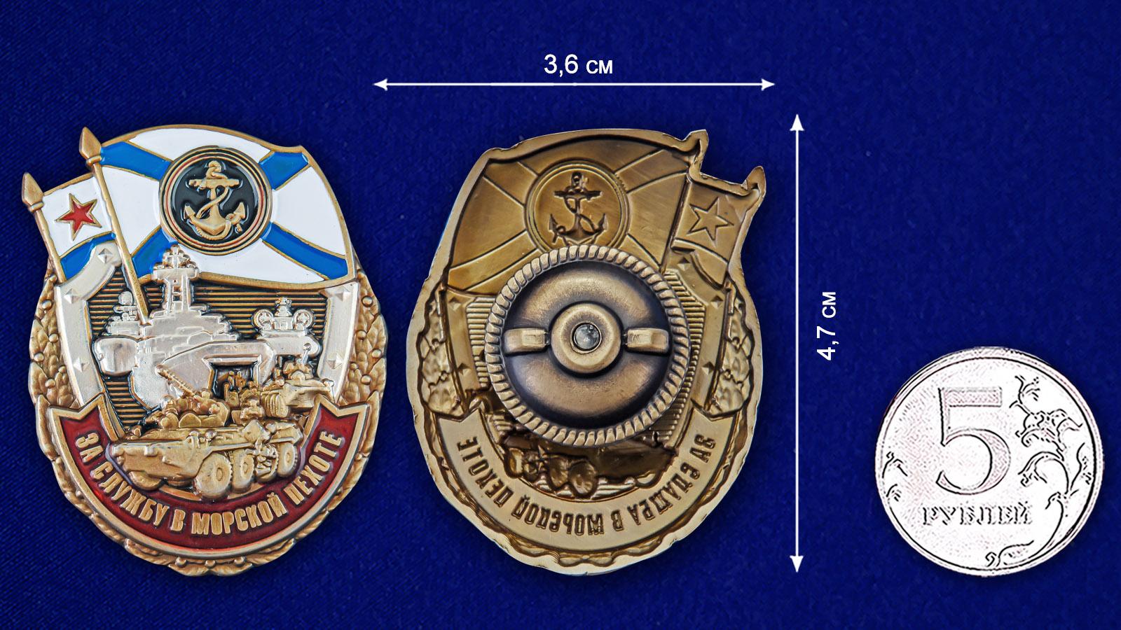 Нагрудный знак За службу в Морской пехоте - размер