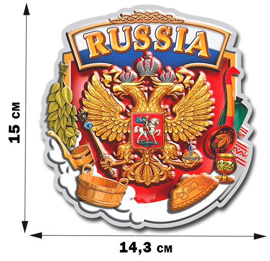 Наклейка Герб России в окружении предметов, которые ТАК дороги настоящему русскому человеку!