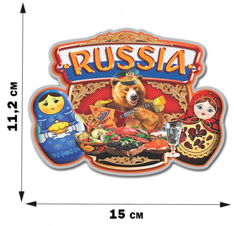 """Наклейка на авто """"Russia"""" с матрёшками"""