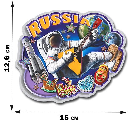 Прикольная автомобильная наклейка «РОССИЯ» с космонавтом-балалаечником.