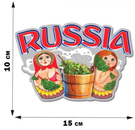 """Наклейка с матрёшками """"Russia"""""""