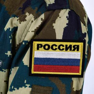 """Нашивка """"Россия"""" с чёрной надписью"""