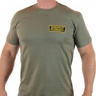Мужская хаки футболка с шевроном Военной Разведки