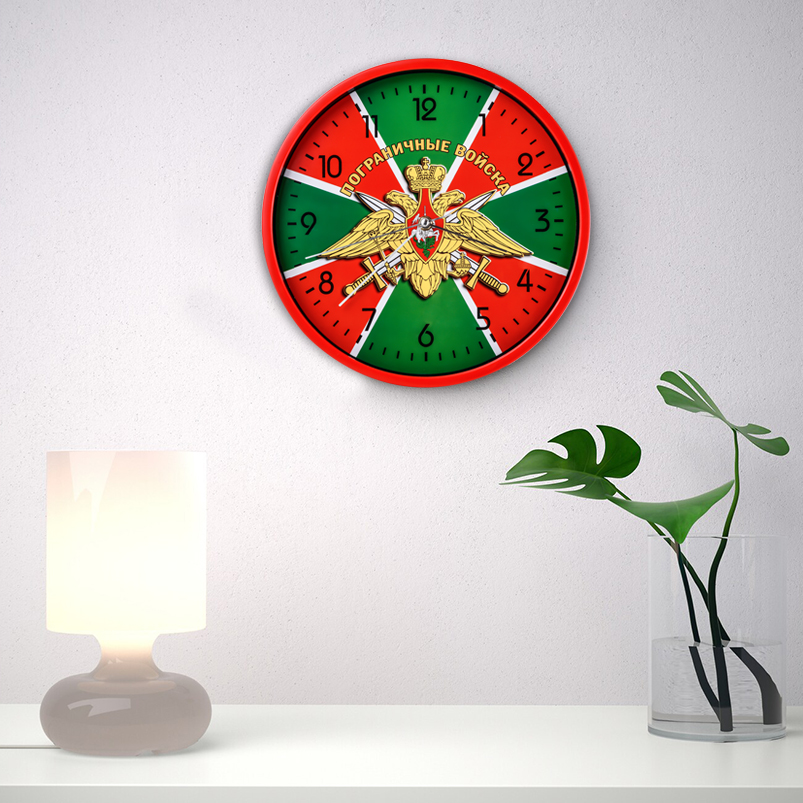 Настенные часы «Пограничные войска» с гербом заказать в Военпро