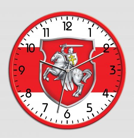 Настенные часы с бело-красно-белым флагом Беларуси