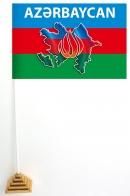 Настольный флажок Азербайджана с контуром границ