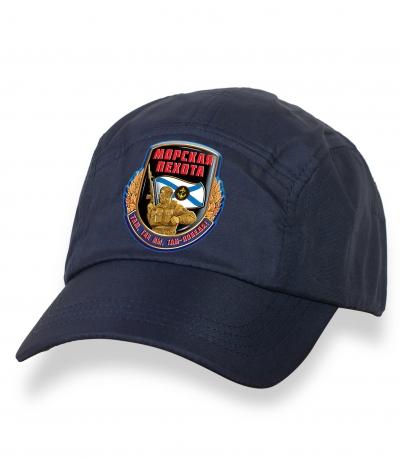 Настоящая темно-синяя бейсболка с термотрансфером Морская Пехота