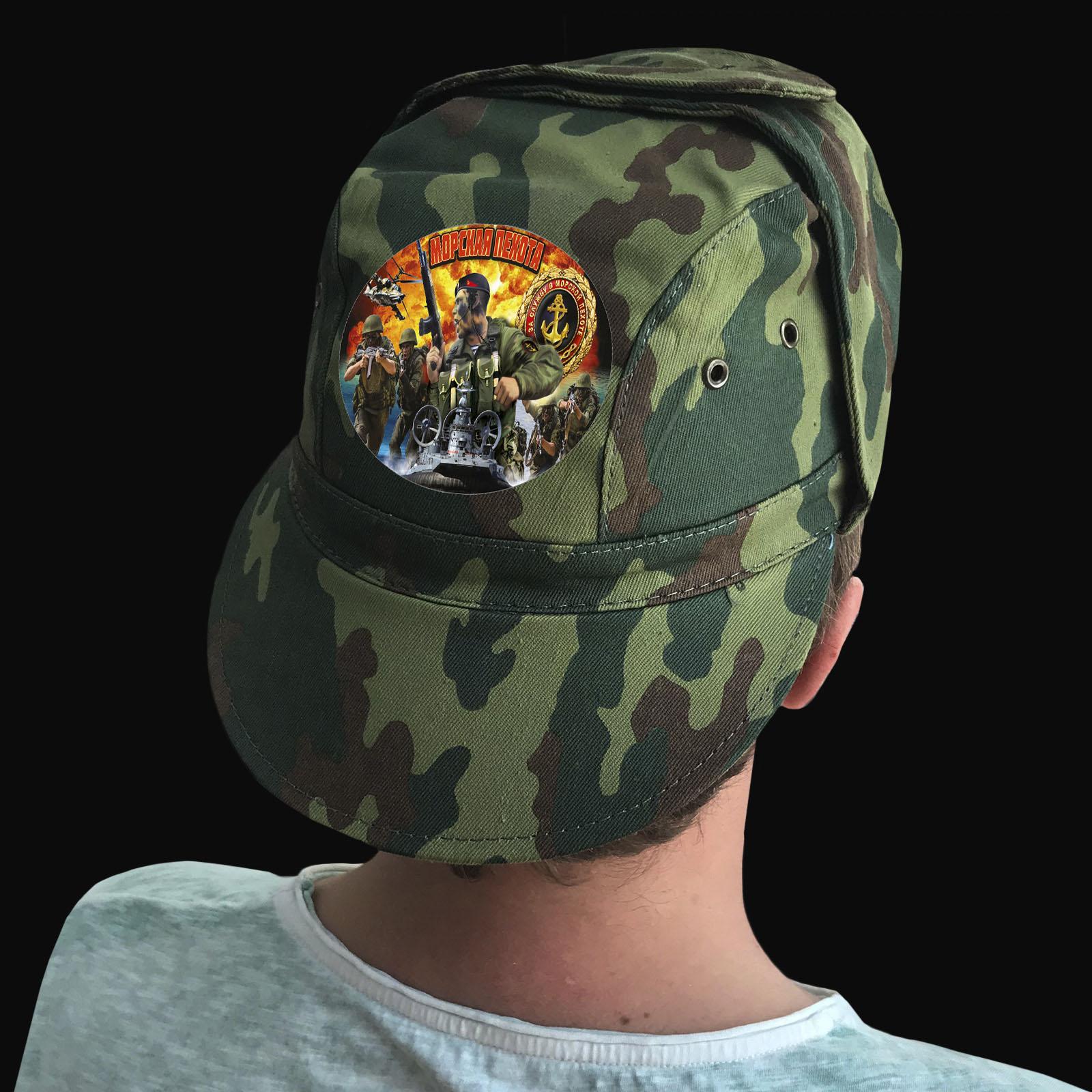Купить натуральную мужскую кепку с охотничьим термотрансфером Морская Пехота с доставкой в ваш город