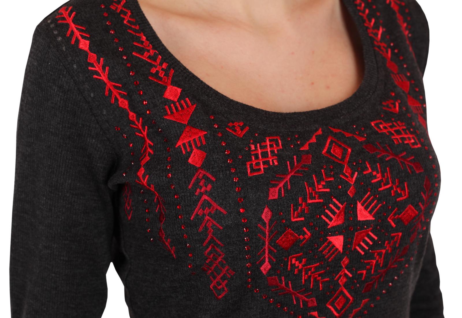 Недорогой брендовый свитшот Panhandle с контрастным этическим орнаментом. Стиль Инди-Рок для независимых девушек