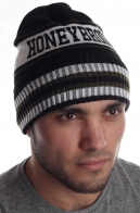 Неприхотливая утепленная флисом полосатая мужская шапка Haneybrook с отворотом