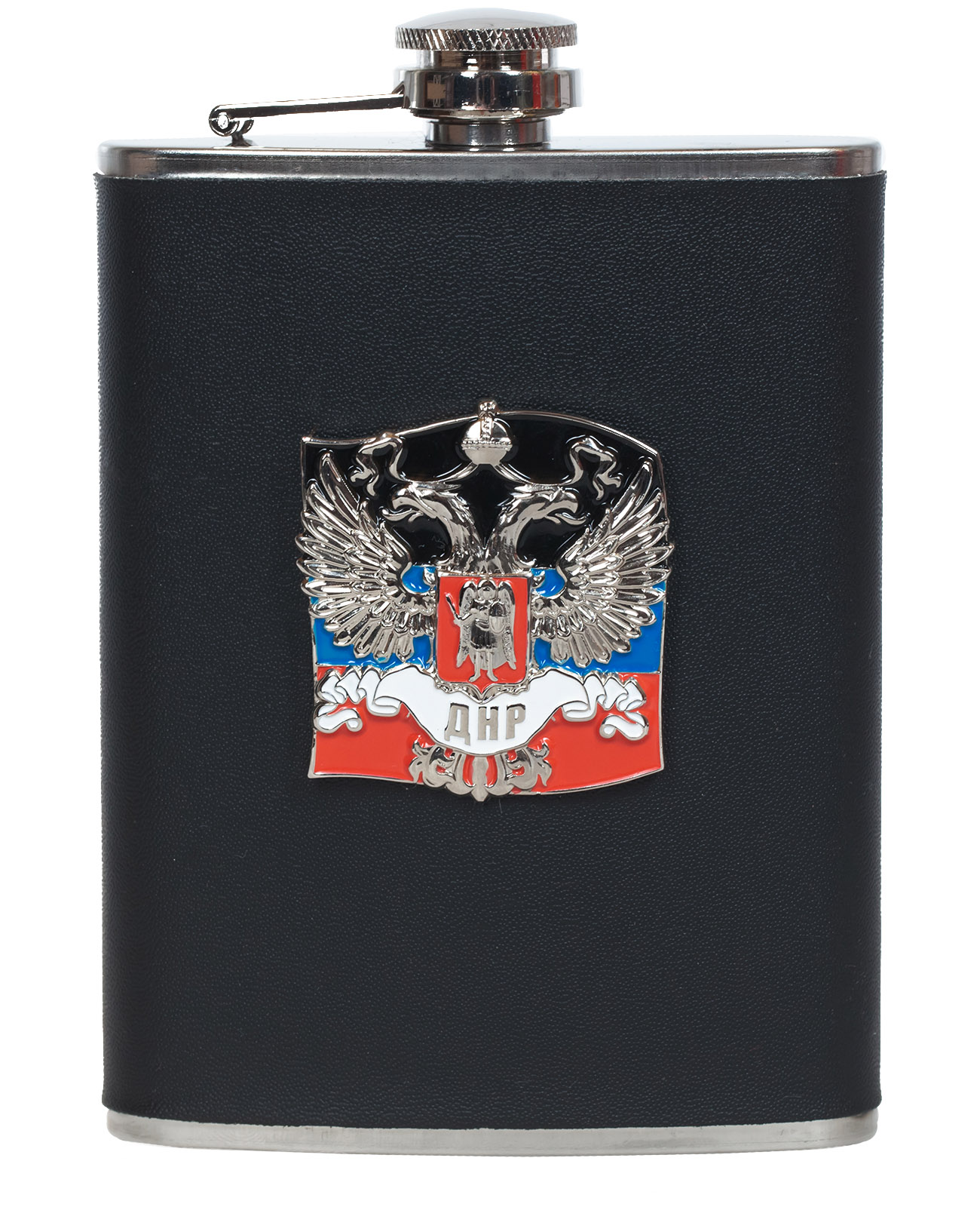 Нержавеющая фляжка ДНР (обтянутая кожей, металлический жетон)