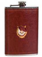 Нержавеющая фляжка в кожаной оплетке с Орденом Красного Знамени