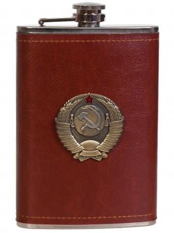 Нержавеющая фляжка в коже с Гербом СССР