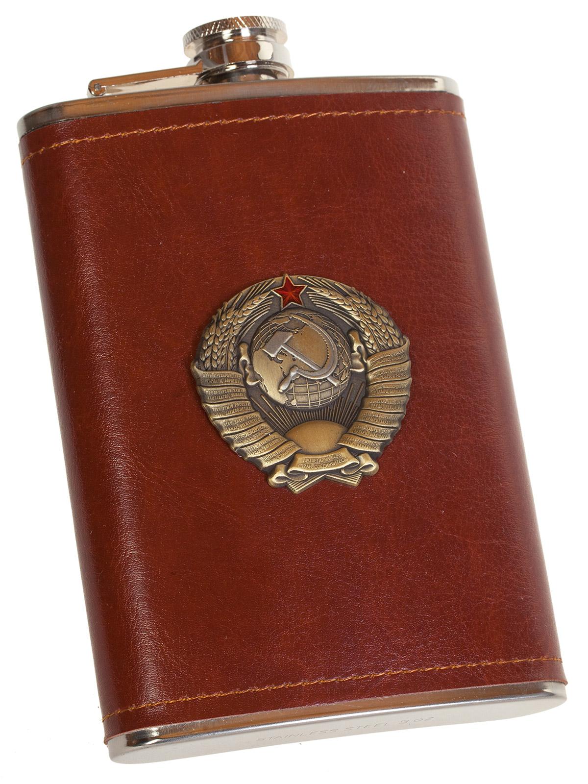 Нержавеющая фляжка в коже с Гербом СССР - купить в подарок