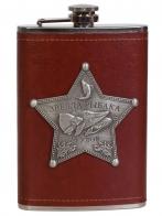 Нержавеющая фляжка в коже с металлической накладкой Звезда Рыбака