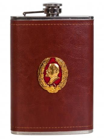 Нержавеющая фляжка в коже с профилем В. И. Ленина