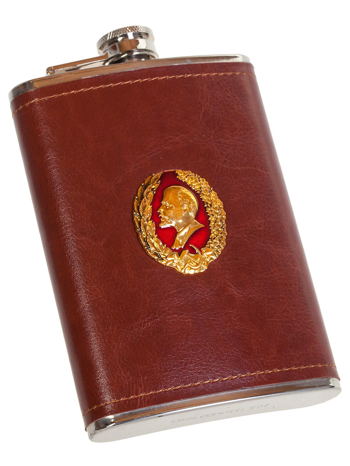 Нержавеющая фляжка в коже с профилем В. И. Ленина - купить выгодно