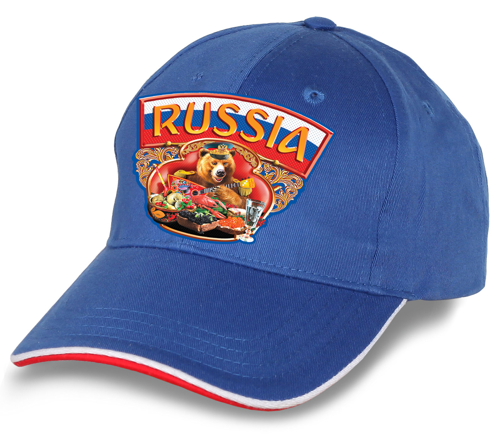"""Незаменимая бейсболка """"Russia"""" для патриотов и футбольных фанатов. Яркая, эффектная модель из 100% хлопка. Заказывай - не пожалеешь!"""