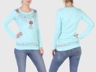 Голубая женская кофточка Panhandle Slim с длинным рукавом