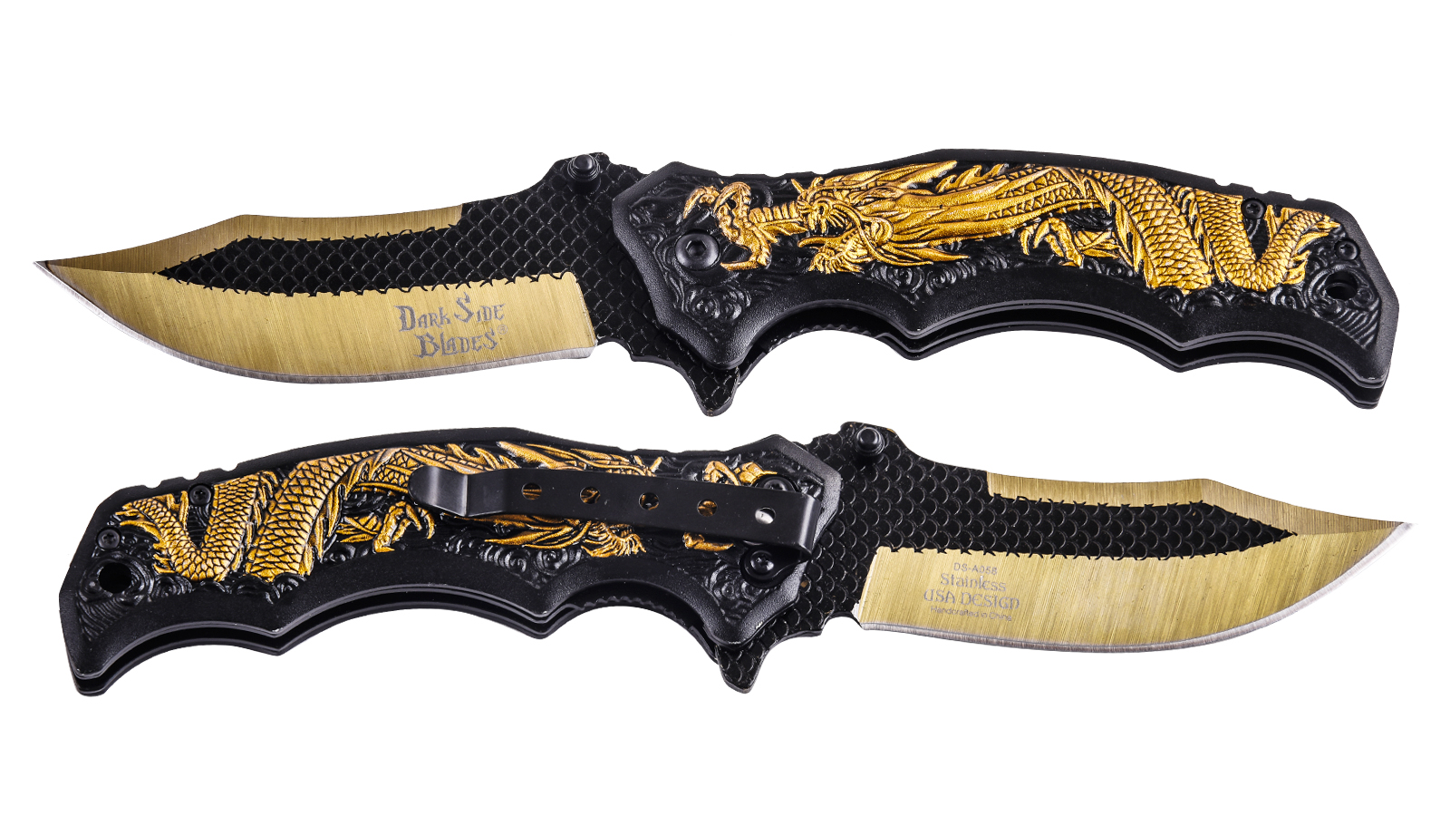 Нож с драконом Dark Side Blades Spring Assisted DS-A058 Gold (США)