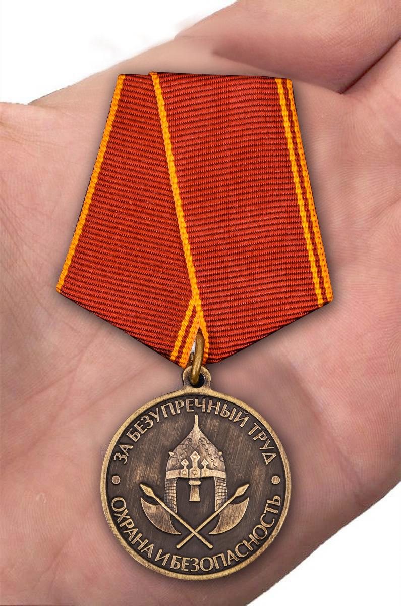 Общественная медаль За безупречный труд. Охрана и безопасность - вид на ладони