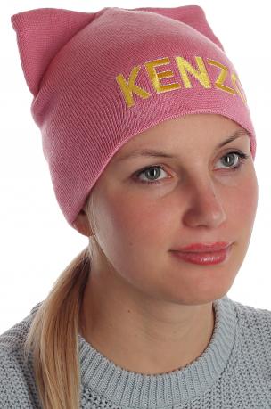 Очаровательная розовая шапка с ушками Kenzo для активных барышень