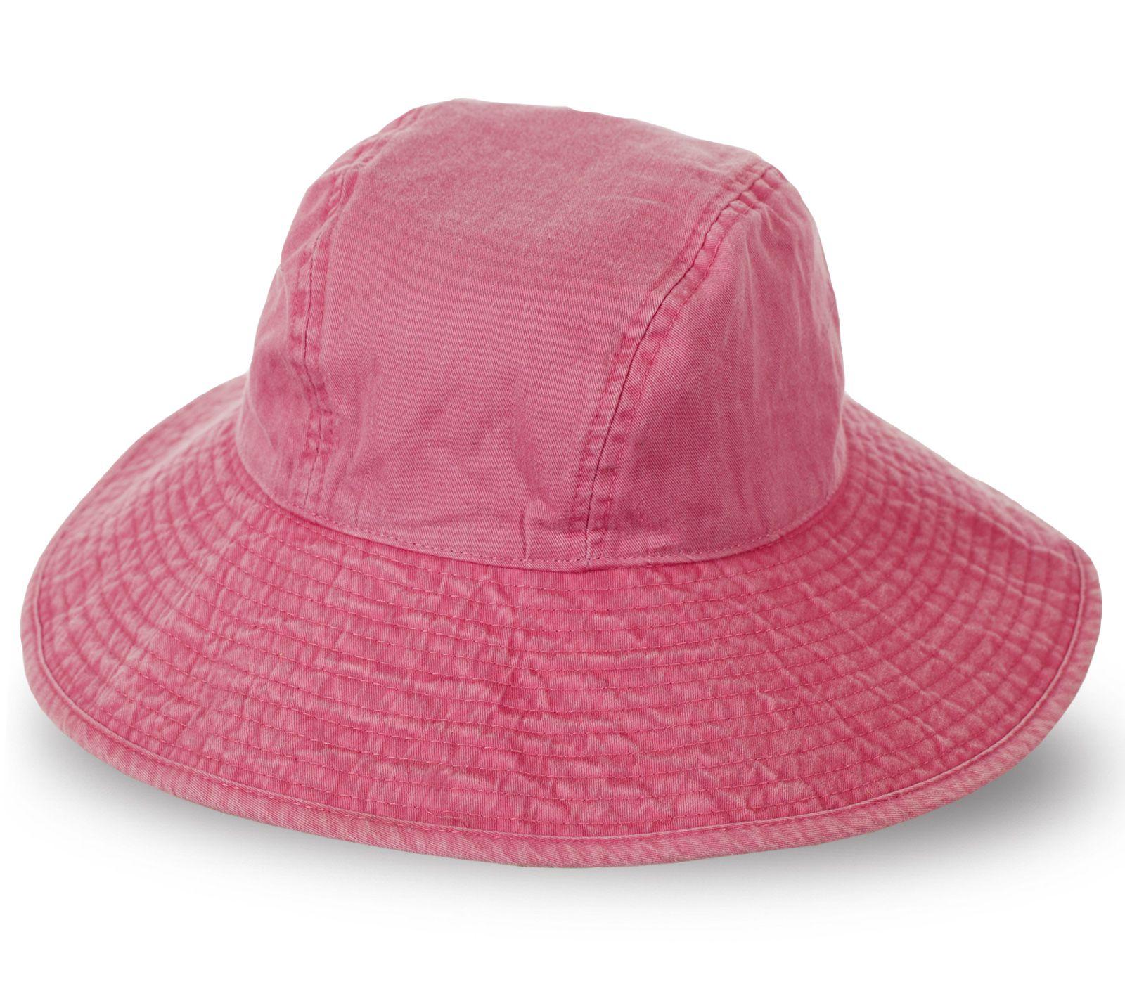 Джинсовая шляпа панама розового цвета с широкими полями