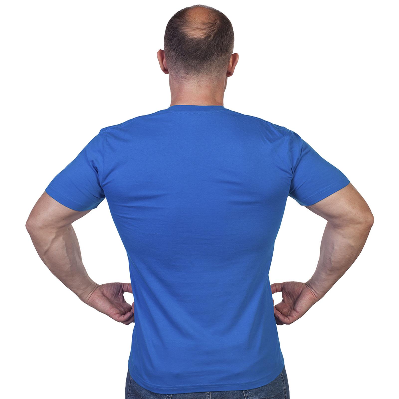 Однотонная футболка василькового цвета - купить выгодно