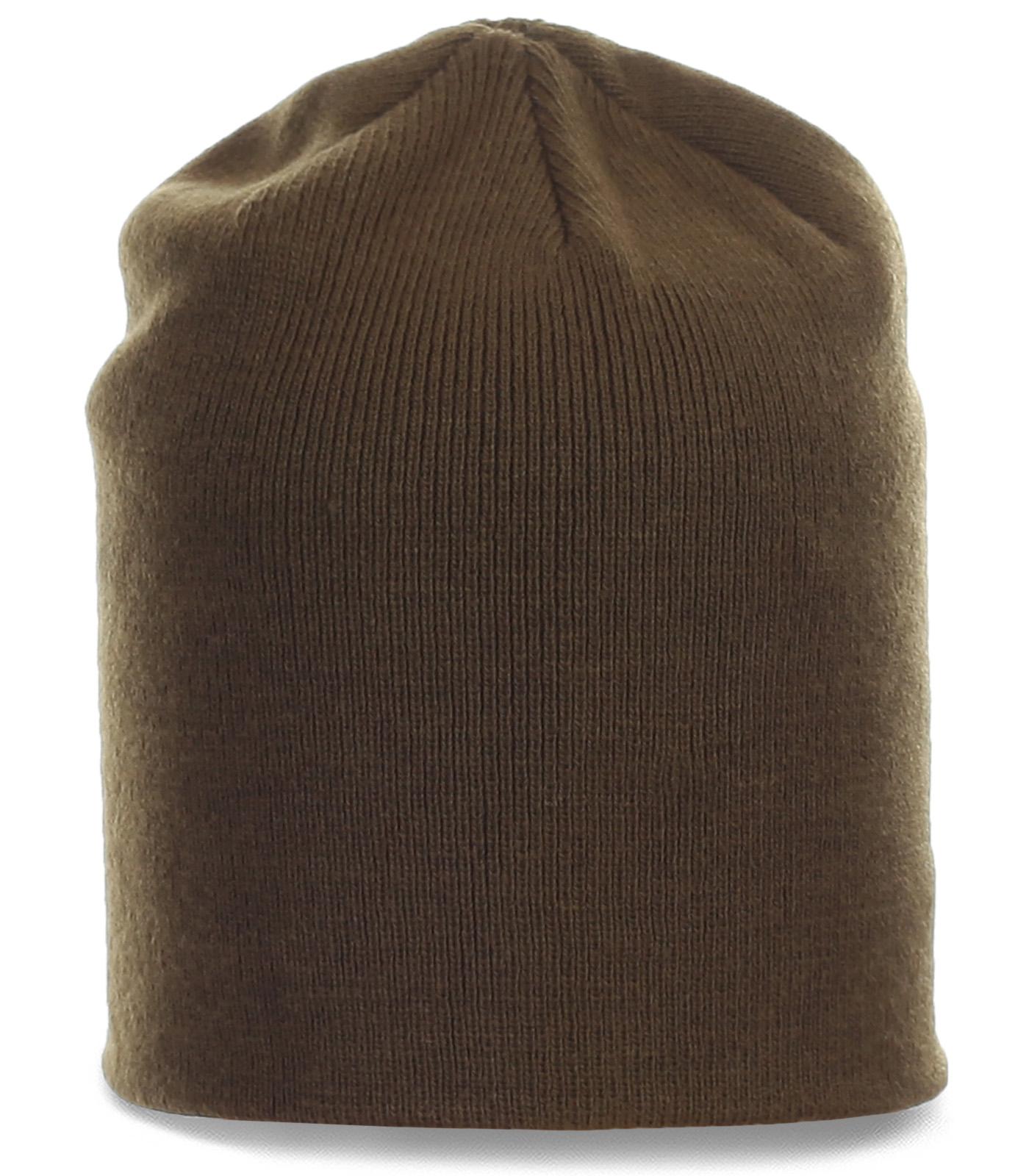 Однотонная мужская шапка кофейного цвета. Модная и теплая модель на каждый день