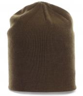 Однотонная мужская шапка кофейного цвета