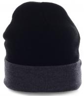 Однотонная мужская шапка с подворотом. Универсальная модель на каждый день, для спорта и активного отдыха